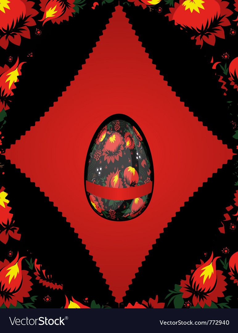Easter egg on floral vector | Price: 1 Credit (USD $1)