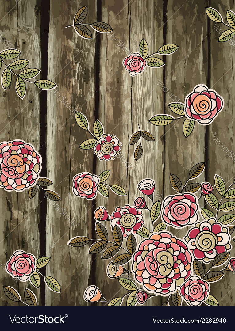 Hand draw flowers on wooden background vector | Price: 1 Credit (USD $1)