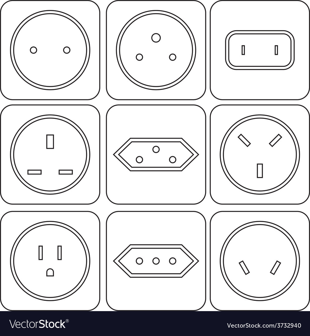 Icon set of international electric sockets vector | Price: 1 Credit (USD $1)