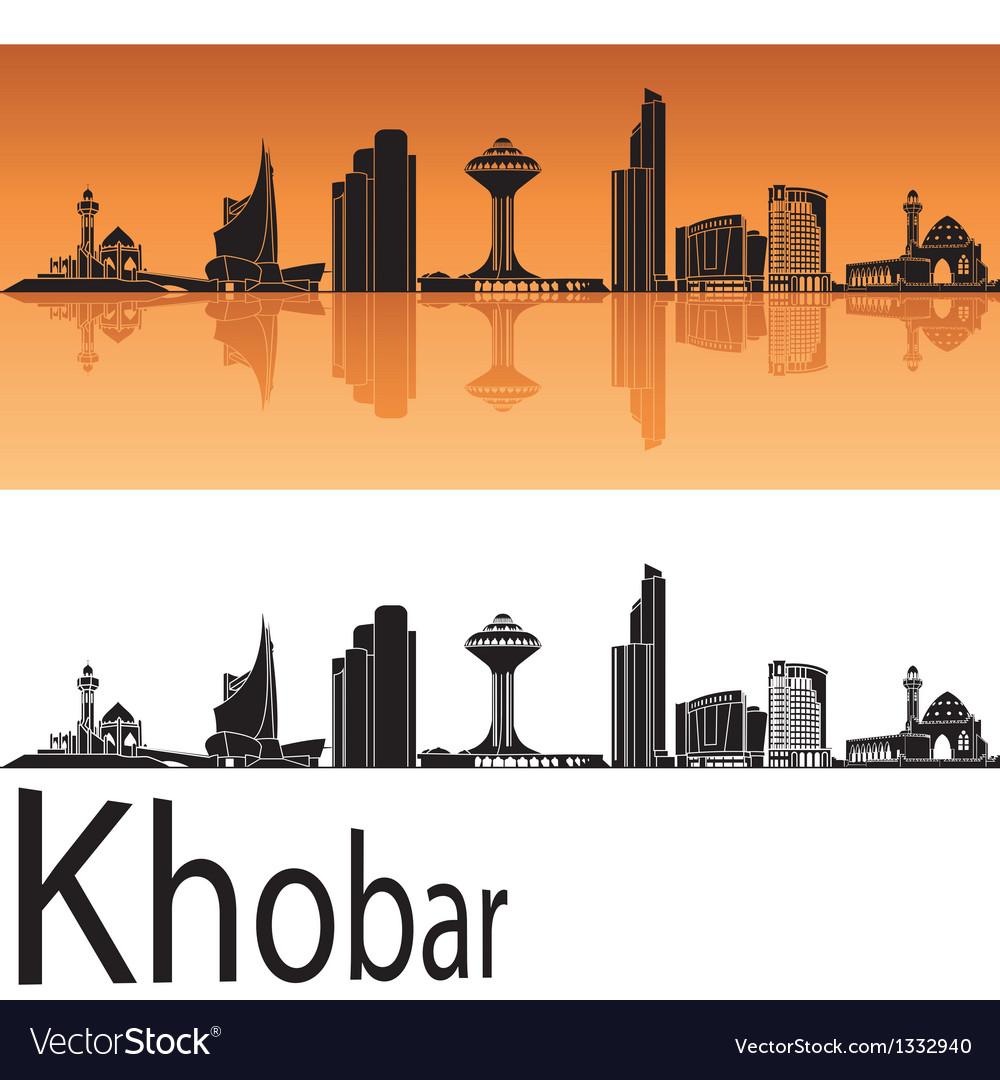 Khobar skyline in orange background vector | Price: 1 Credit (USD $1)
