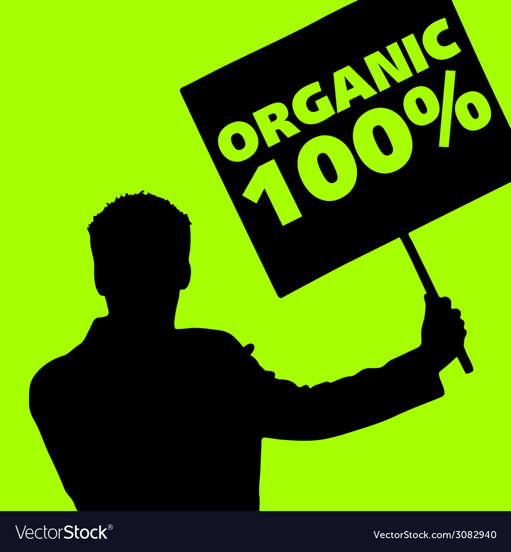 Man with the slogan for organic vector | Price: 1 Credit (USD $1)