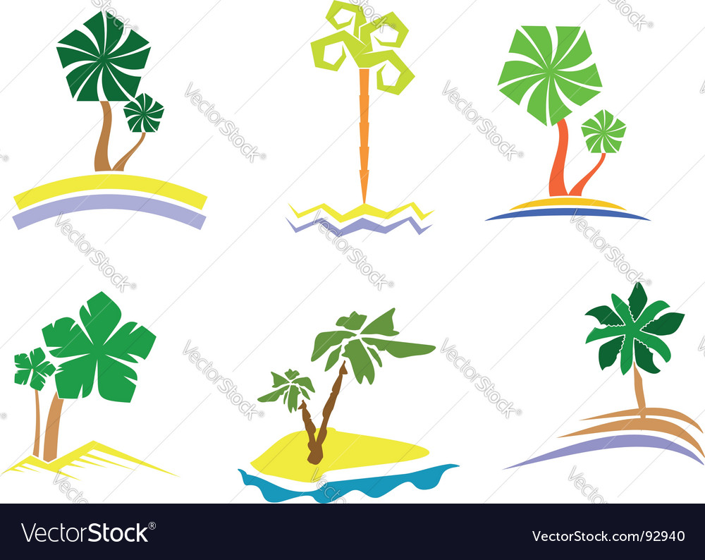 Palm tree set vector | Price: 1 Credit (USD $1)