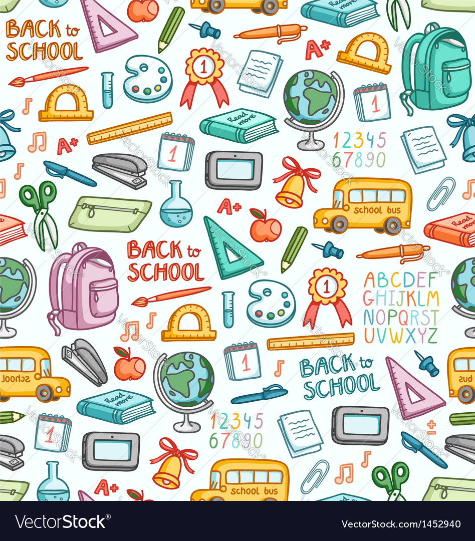 School pattern in color vector | Price: 1 Credit (USD $1)