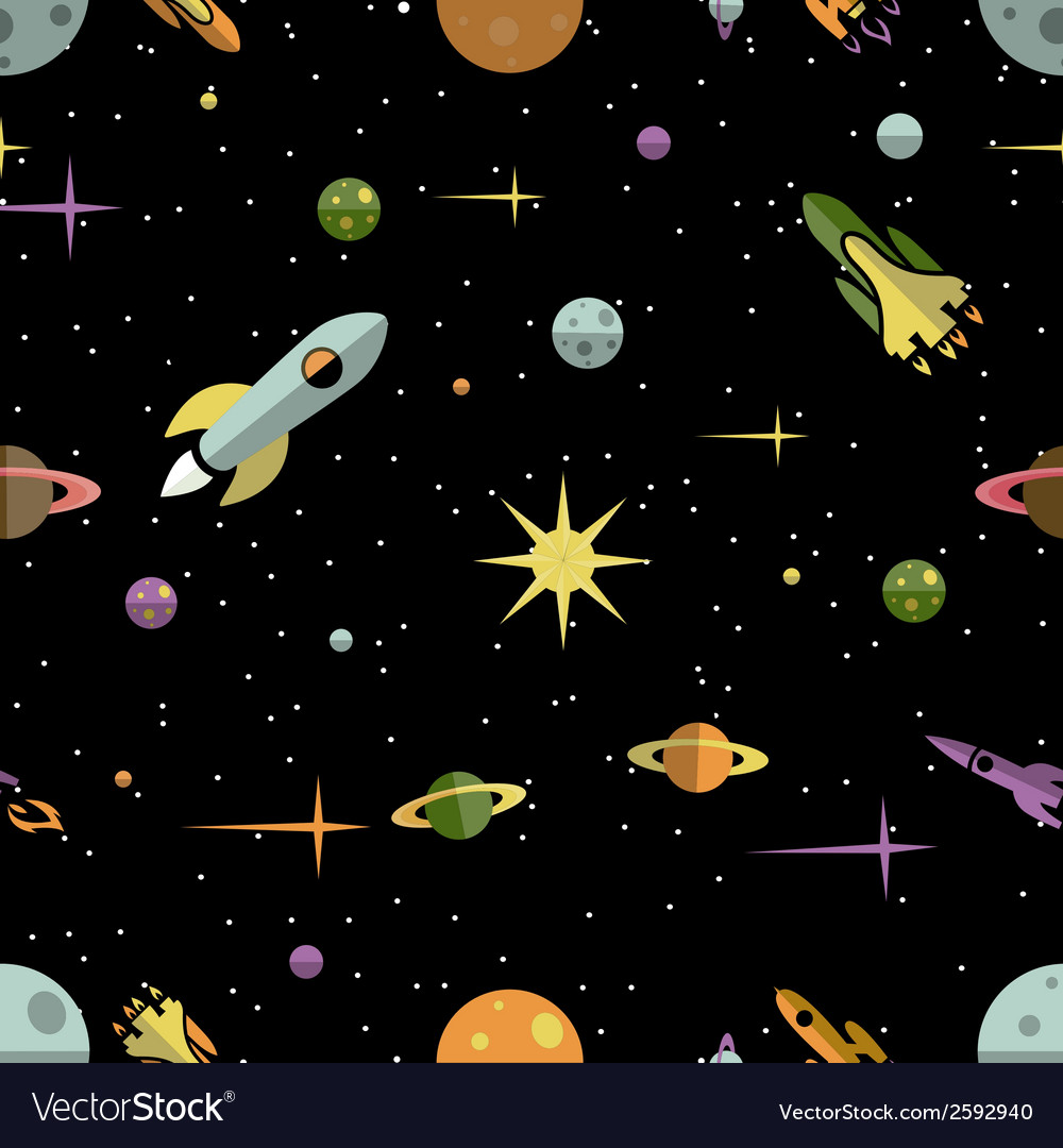 Seamless pattern with planets rockets and stars vector | Price: 1 Credit (USD $1)