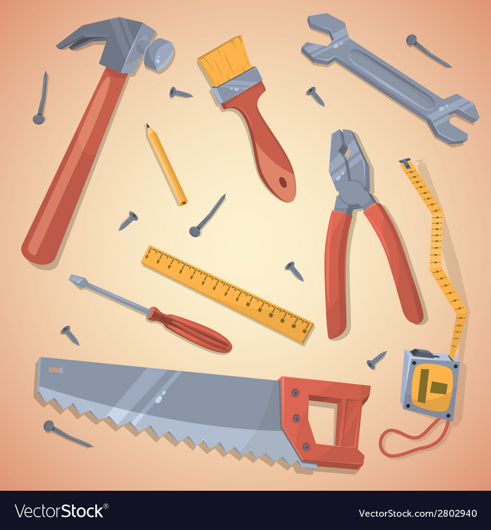 Set of different tools vector | Price: 1 Credit (USD $1)