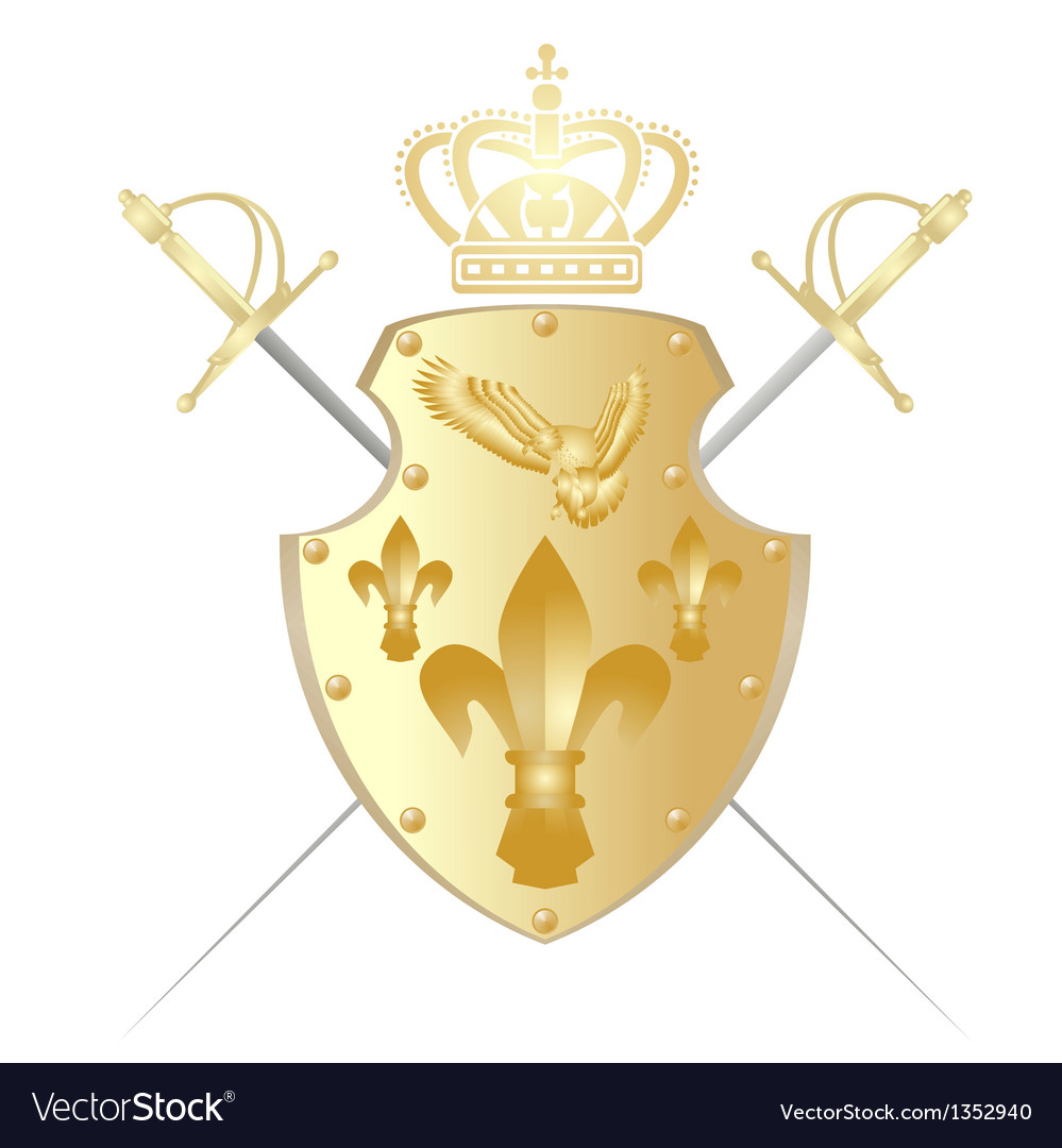 Shield crown and two swords vector | Price: 1 Credit (USD $1)