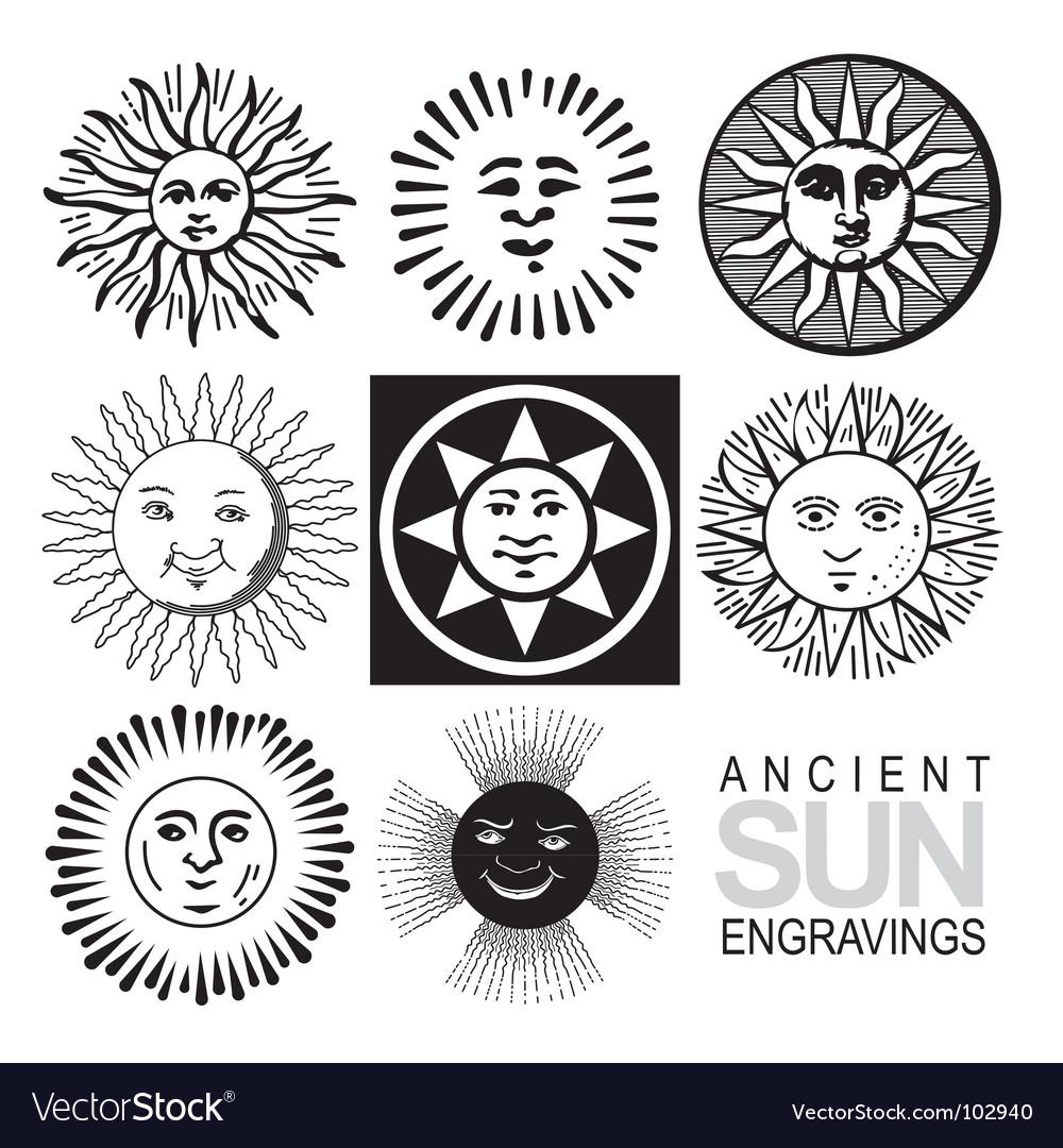 Sun icons retro engraving vector