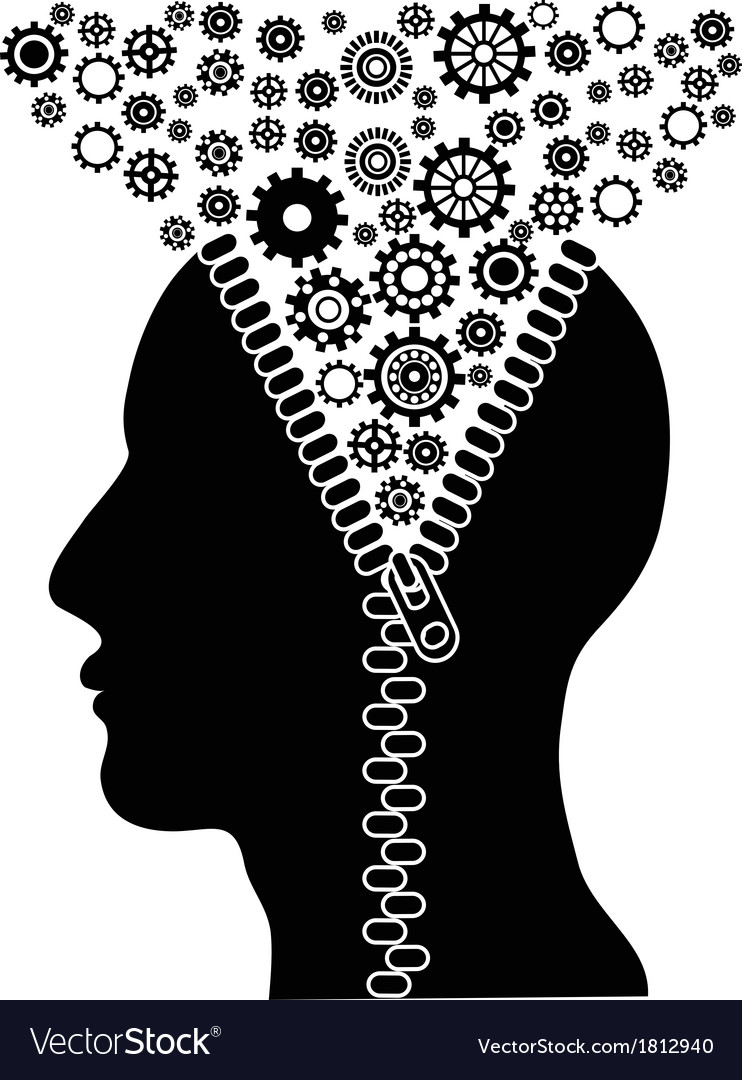 Unzipped human head with cogs vector | Price: 1 Credit (USD $1)