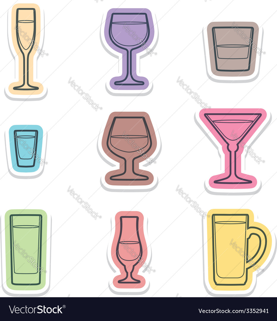 Alcohol glasses labels icons vector | Price: 1 Credit (USD $1)