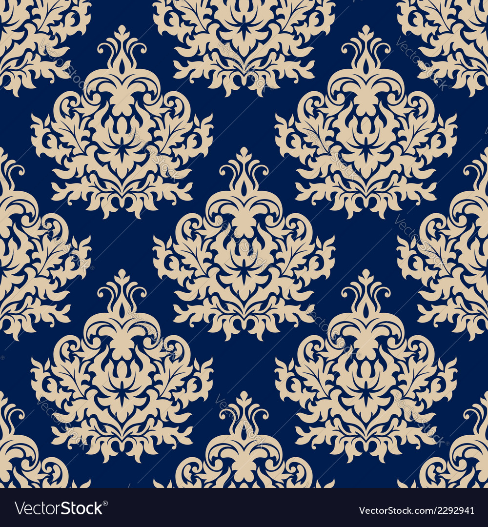 Blue damask seamless pattern with beige flourishes vector | Price: 1 Credit (USD $1)