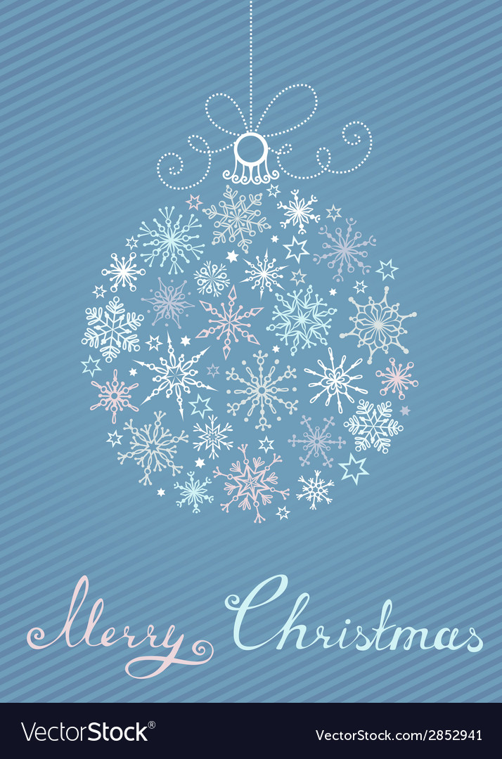 Christmas ball of snowflakes on blue striped vector | Price: 1 Credit (USD $1)