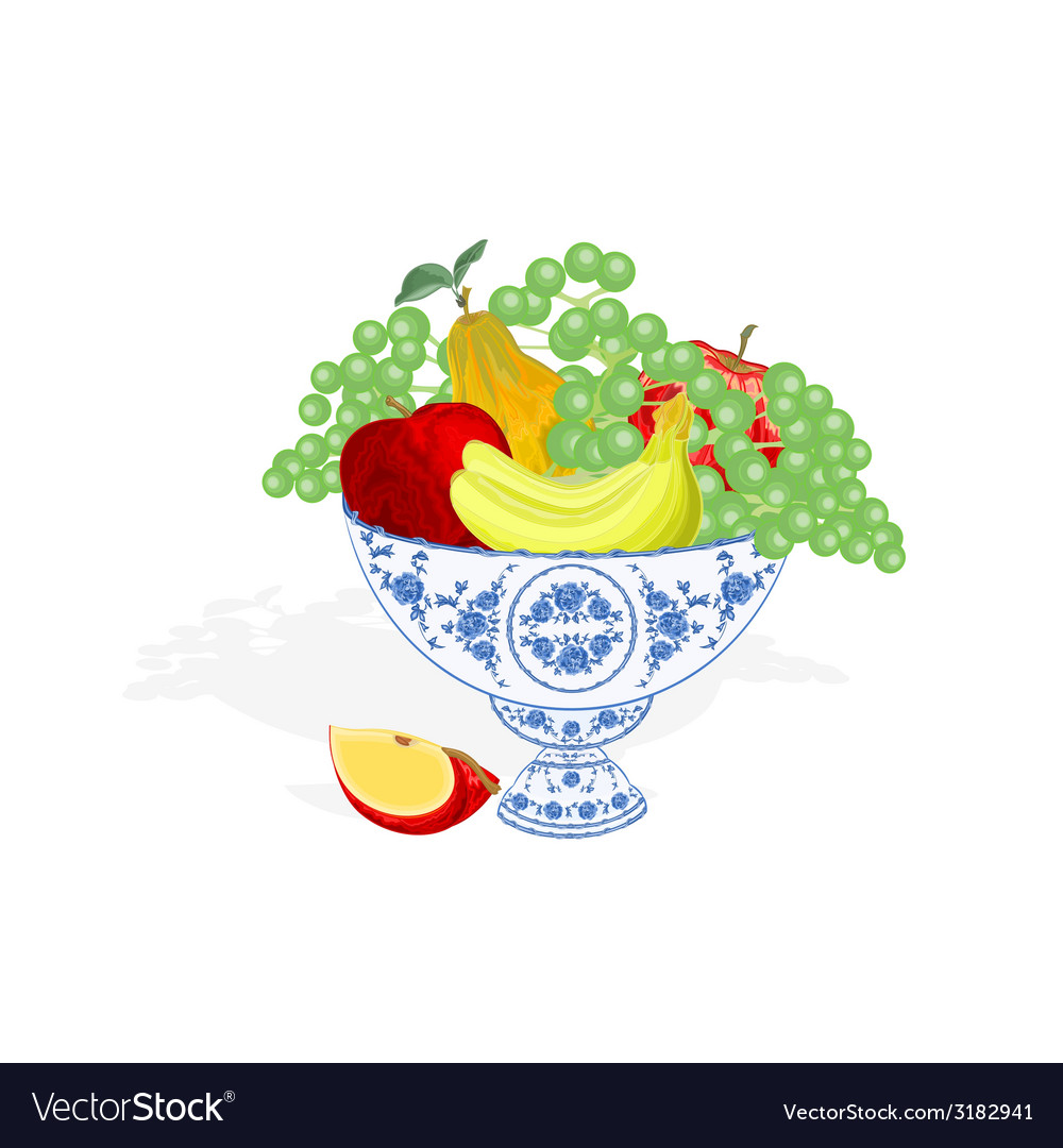 Faience bowl blue color with fruit vector | Price: 1 Credit (USD $1)
