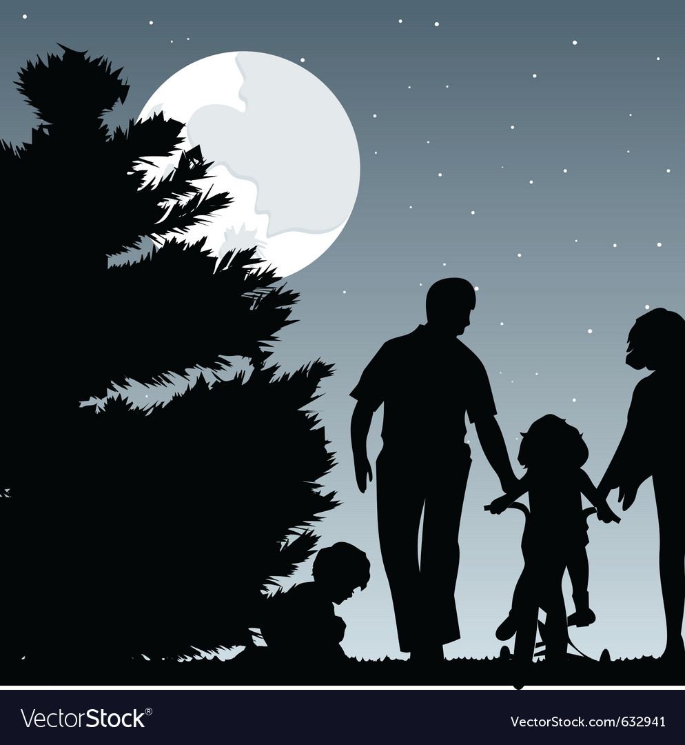 Family walks with children in the evening a vector | Price: 1 Credit (USD $1)