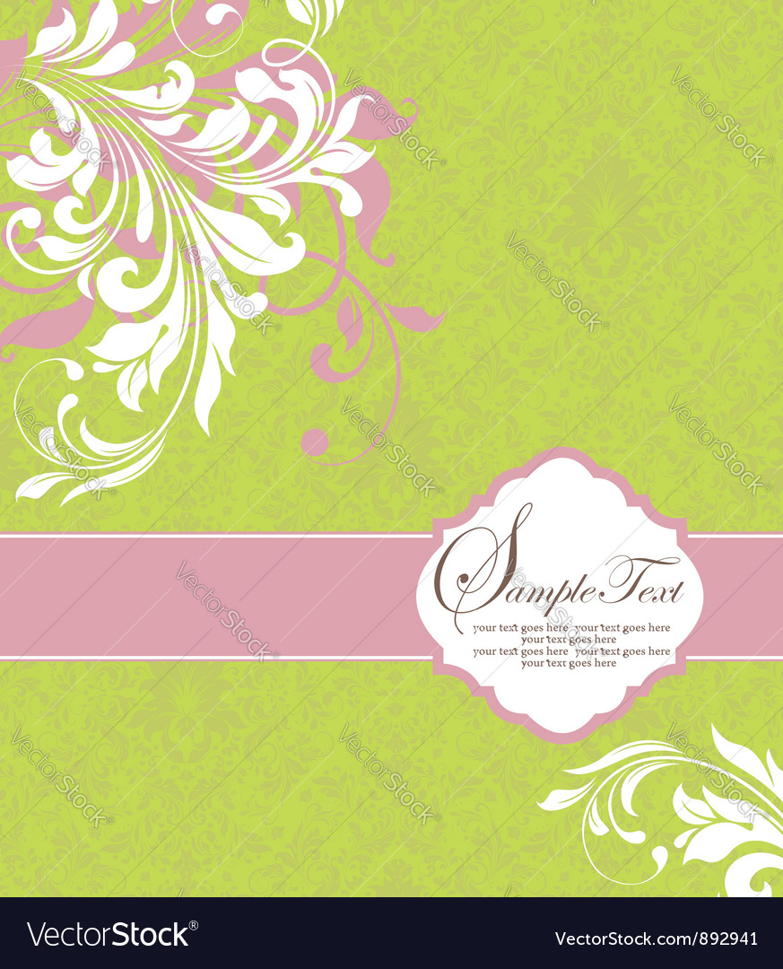 Green with white floral elements vector | Price: 1 Credit (USD $1)