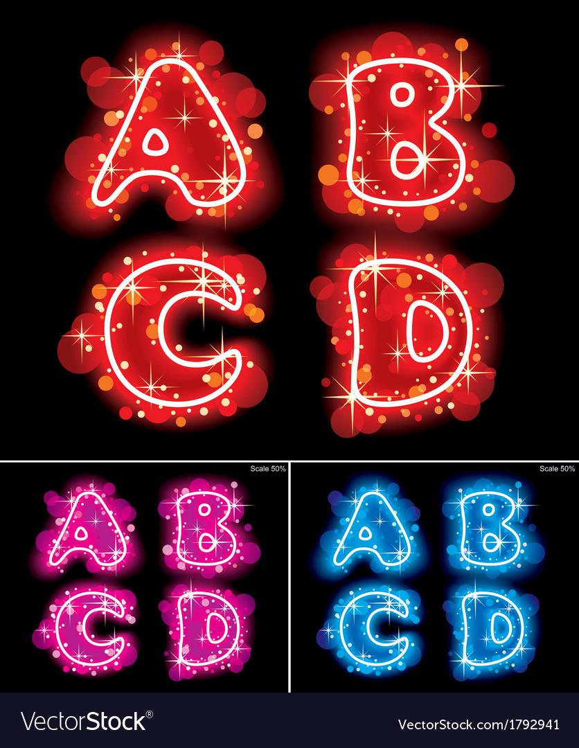 Neon alphabet letters vector | Price: 1 Credit (USD $1)