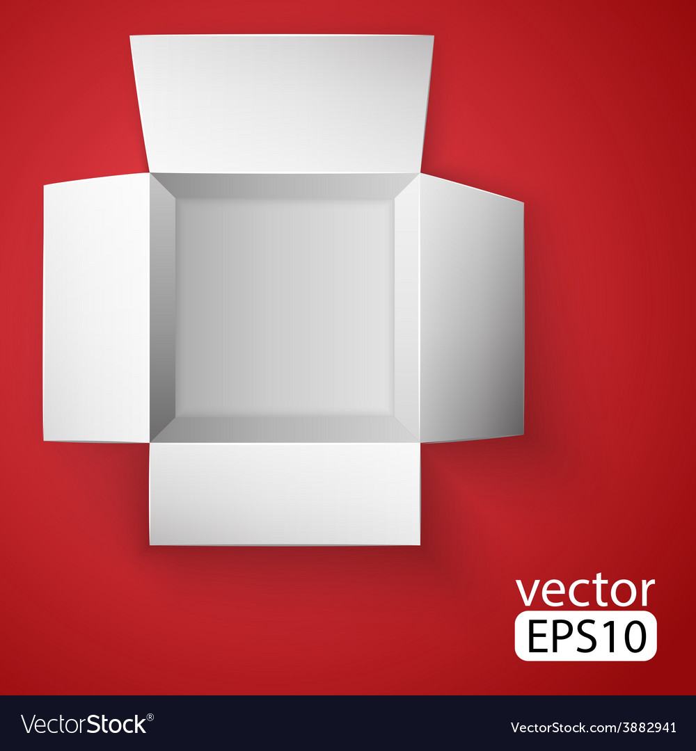 Open white box on red background top view vector | Price: 1 Credit (USD $1)