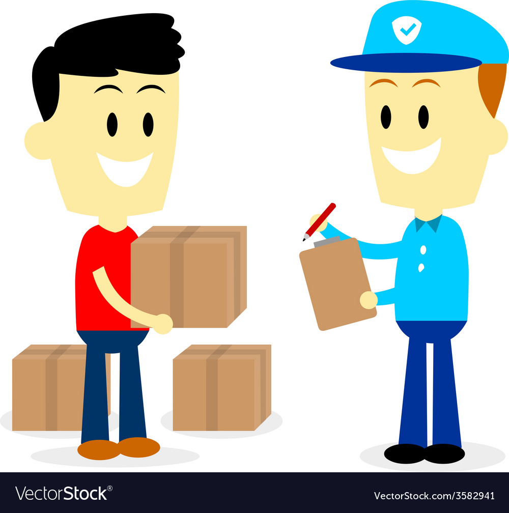 Postman delivering parcels to a man vector | Price: 1 Credit (USD $1)