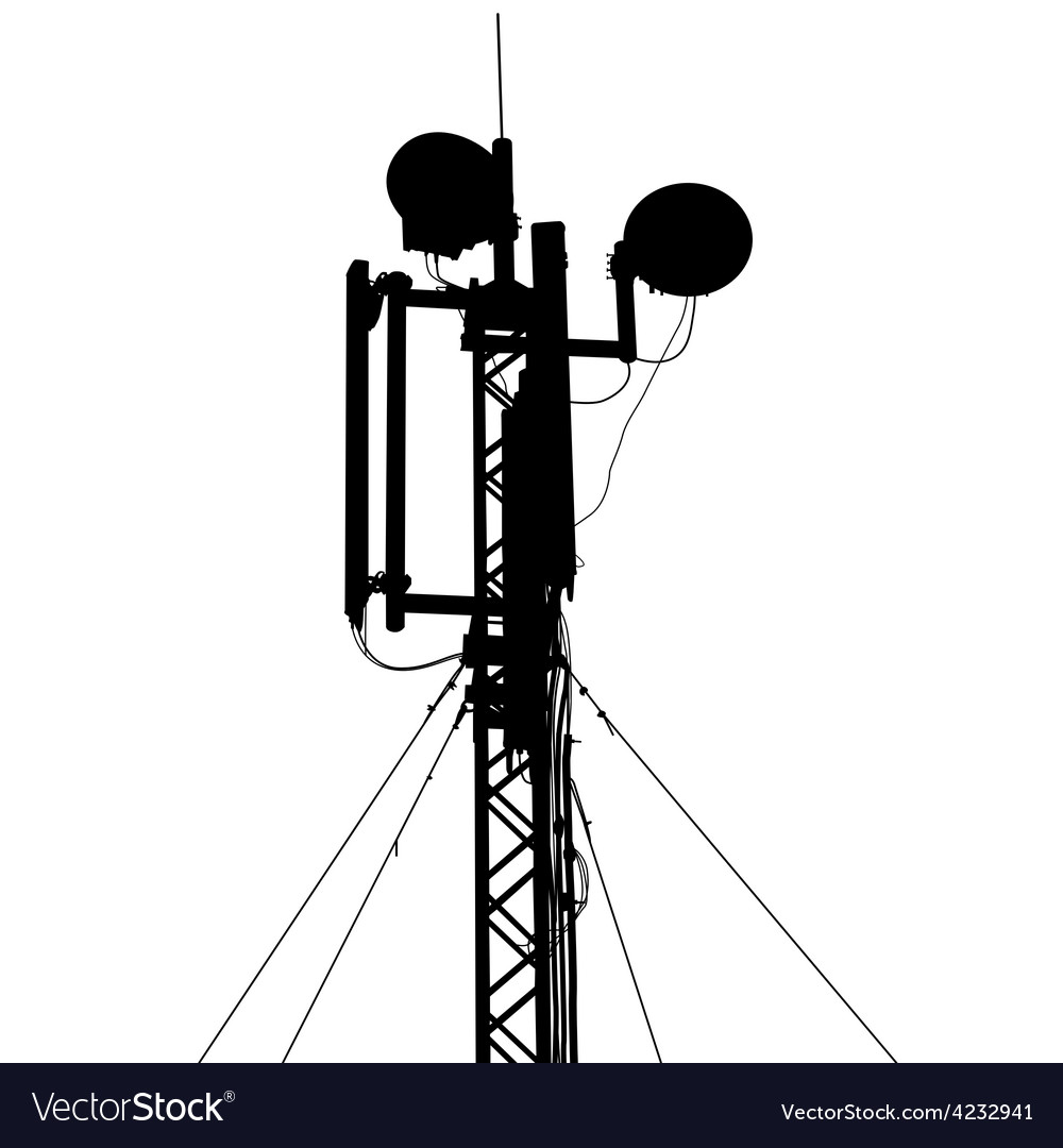 Silhouette mast antenna mobile communications vector | Price: 1 Credit (USD $1)