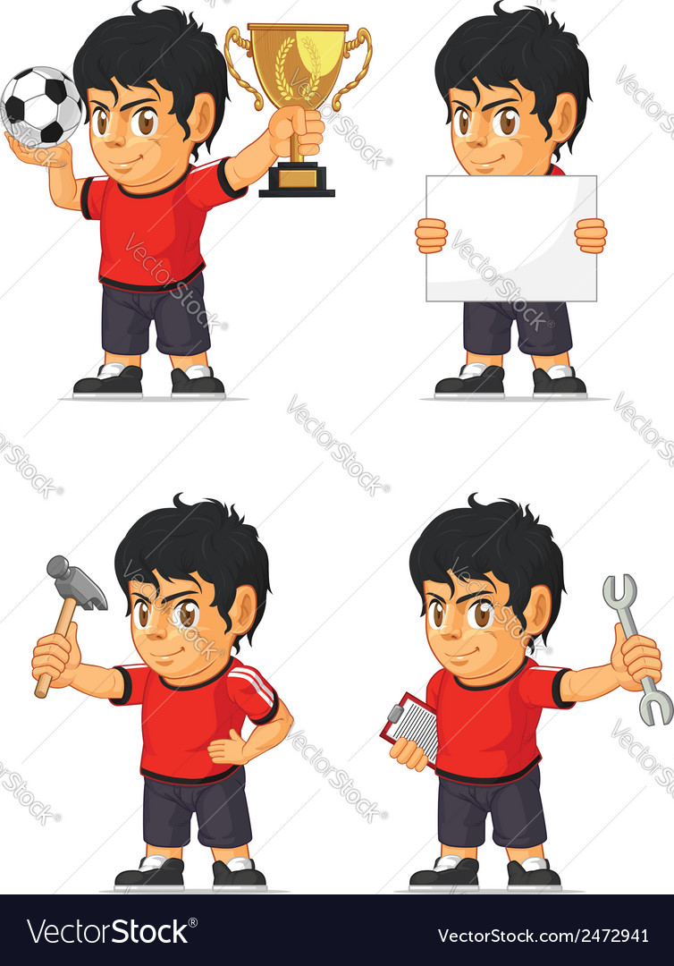 Soccer boy customizable mascot vector | Price: 1 Credit (USD $1)