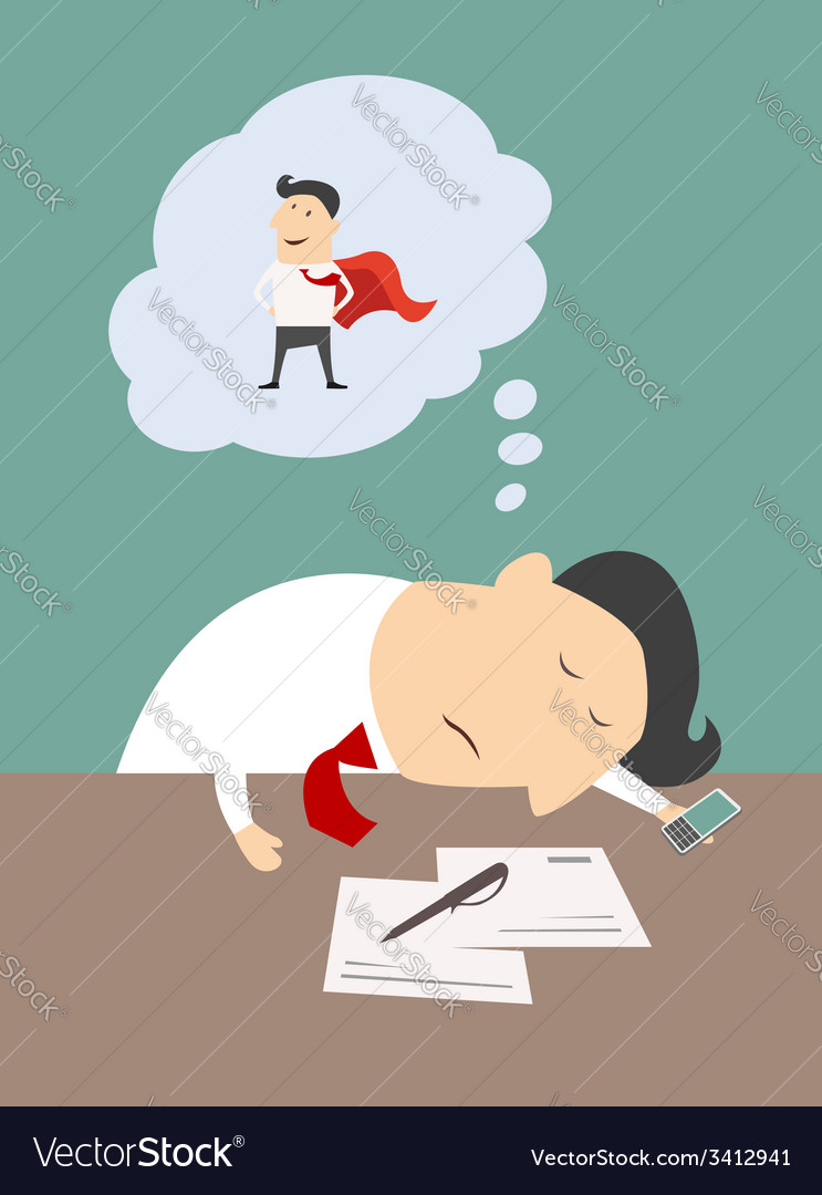 Tired businessman dreaming of being a super hero vector | Price: 1 Credit (USD $1)
