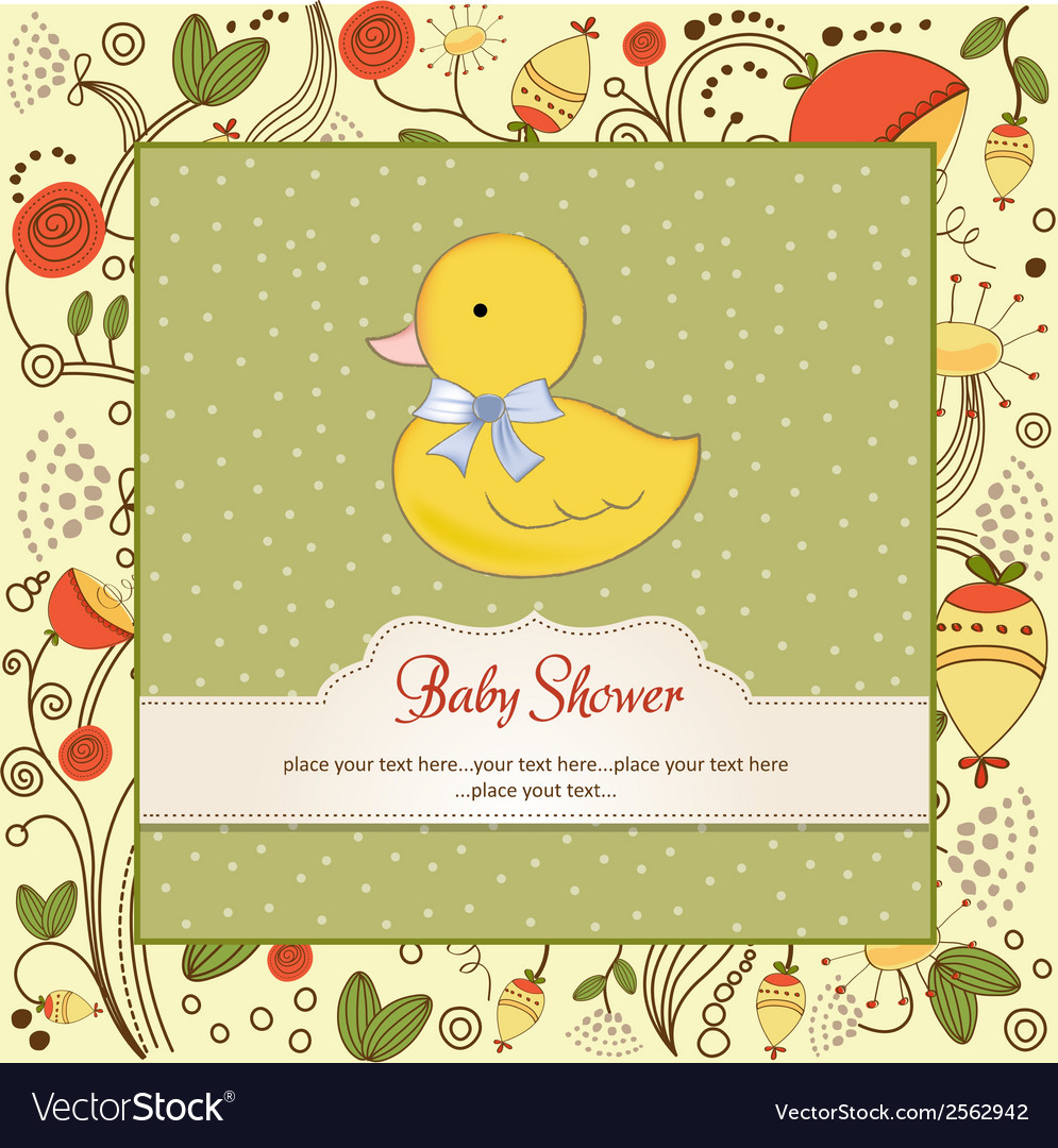 Baby shower card with little duc vector | Price: 1 Credit (USD $1)
