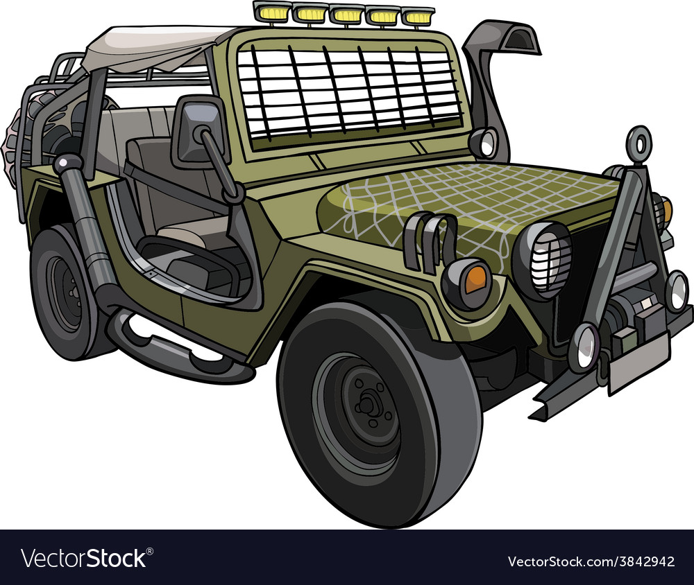 Cartoon car military suv with awning and canopies vector | Price: 3 Credit (USD $3)