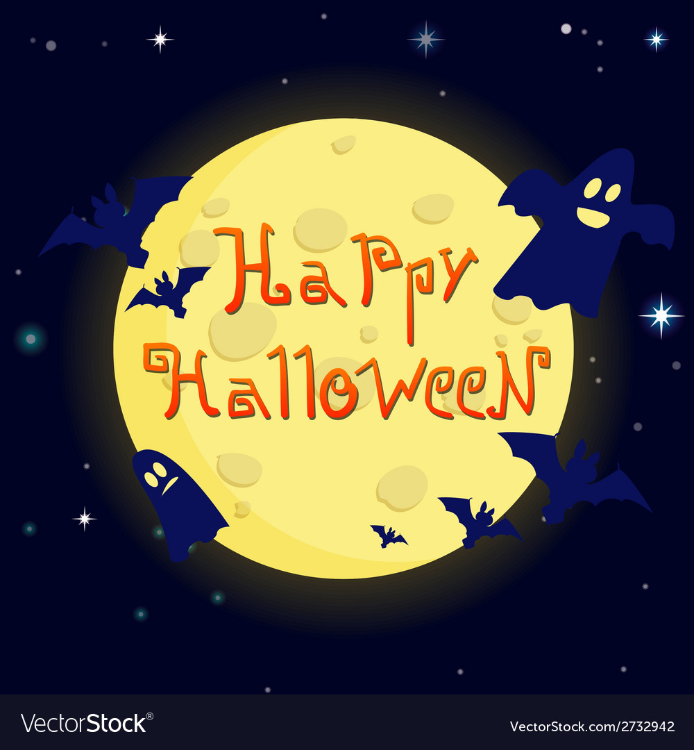 Cartoon happy halloween on background of the moon vector | Price: 1 Credit (USD $1)