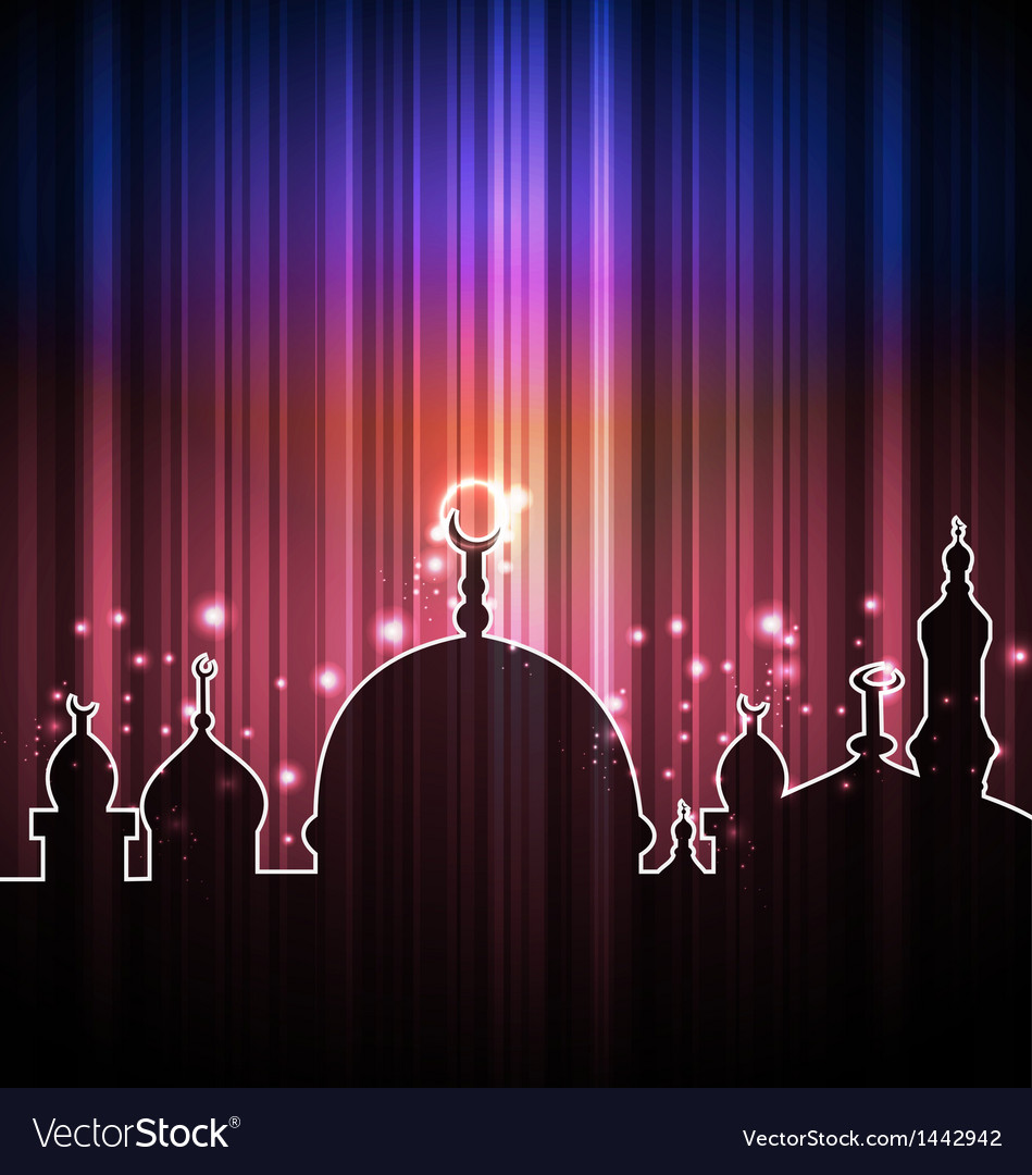 Cute shine card with mosque vector | Price: 1 Credit (USD $1)