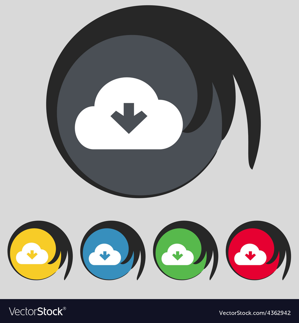 Download from cloud icon sign symbol on five vector | Price: 1 Credit (USD $1)