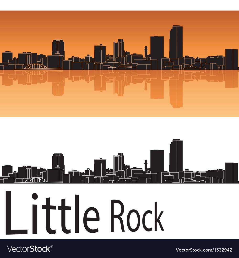 Little rock skyline in orange background vector | Price: 1 Credit (USD $1)