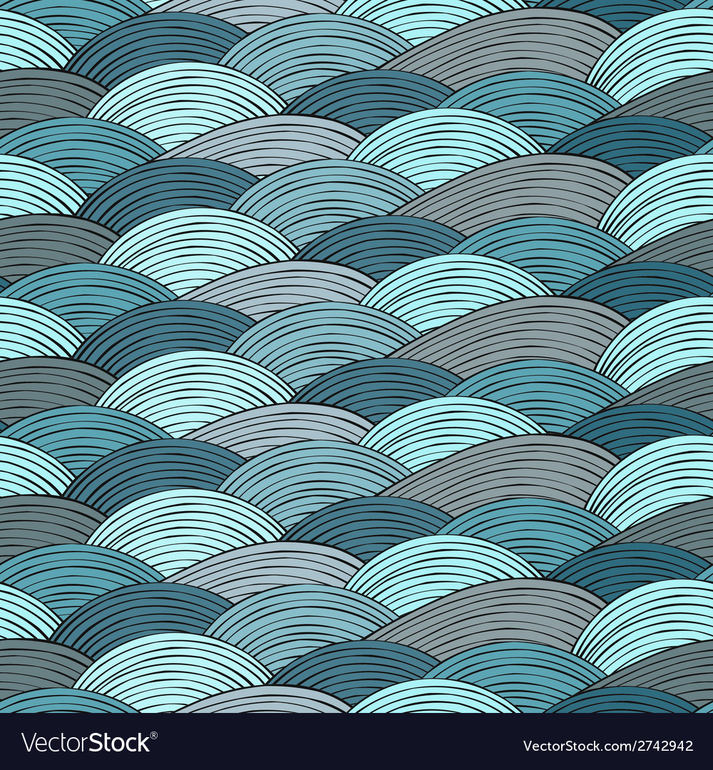 Seamless pattern with hand drawn abstract waves vector | Price: 1 Credit (USD $1)