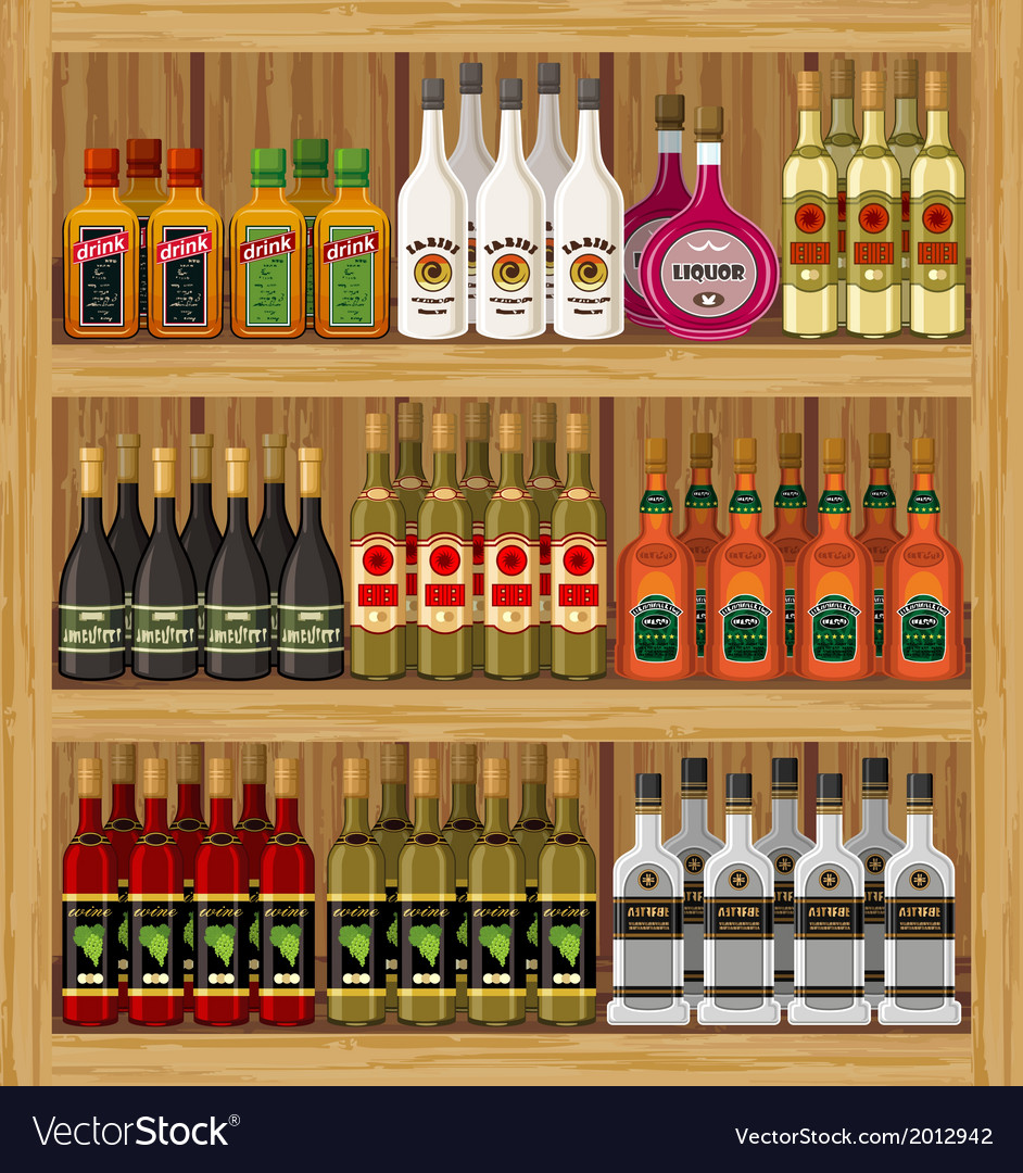 Shop alcoholic beverages vector | Price: 3 Credit (USD $3)