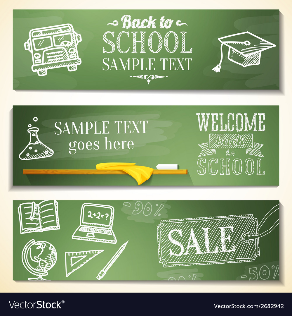 Welcome back to school messages on the chalkboard vector | Price: 1 Credit (USD $1)