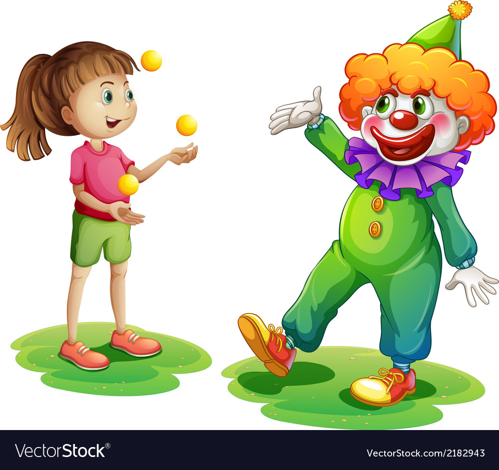 A clown and a young girl vector | Price: 1 Credit (USD $1)