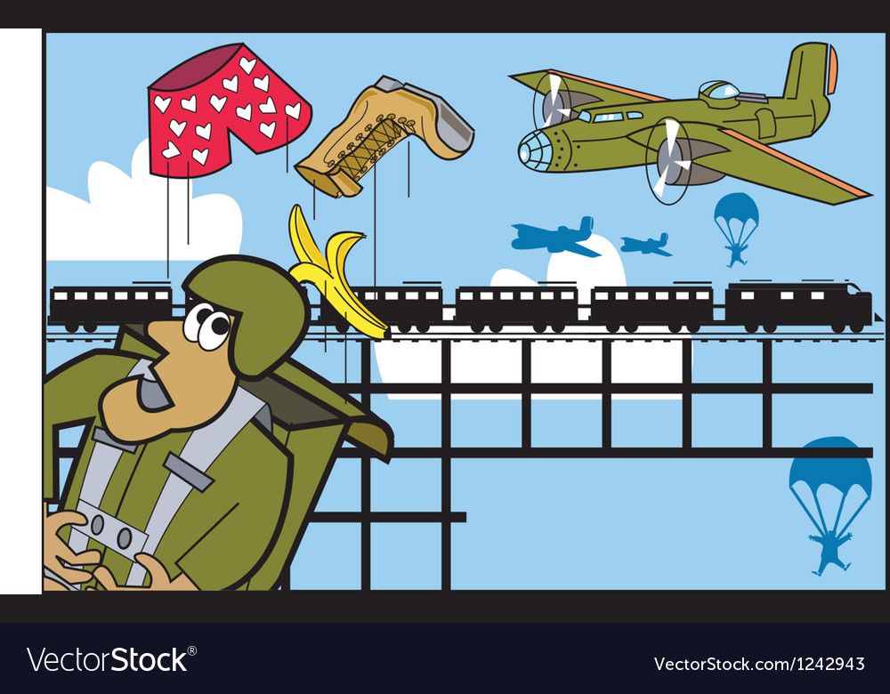 Army parachute cartoon vector   Price: 1 Credit (USD $1)