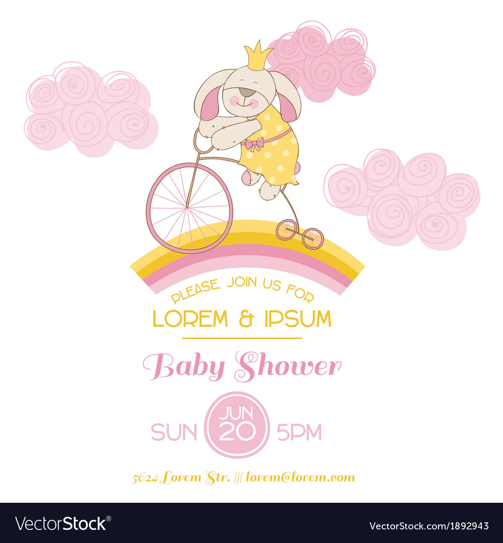 Baby shower card - with baby bunny and bike vector | Price: 1 Credit (USD $1)