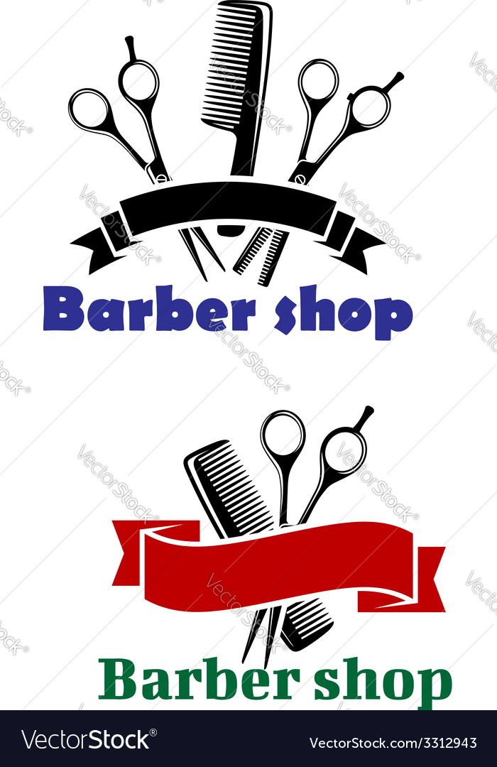 Barber shop signs with blank banners vector | Price: 1 Credit (USD $1)