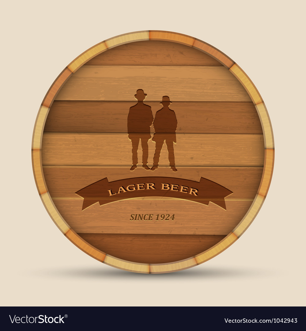 Beer label in form wooden barrel vector | Price: 1 Credit (USD $1)
