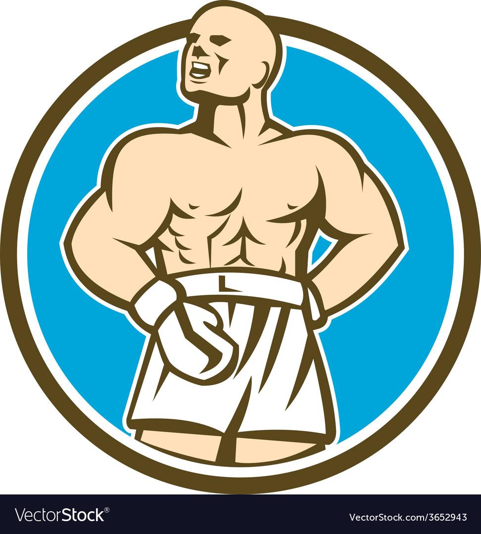 Boxer champion shouting circle retro vector | Price: 1 Credit (USD $1)