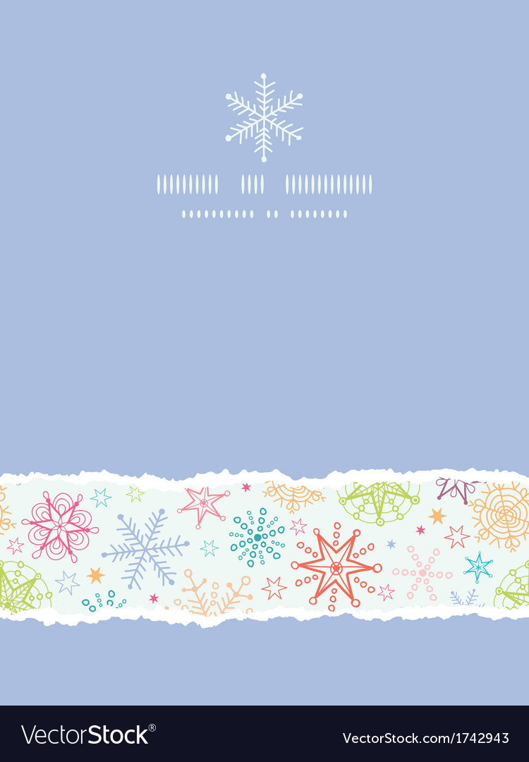 Colorful doodle snowflakes vertical torn frame vector | Price: 1 Credit (USD $1)