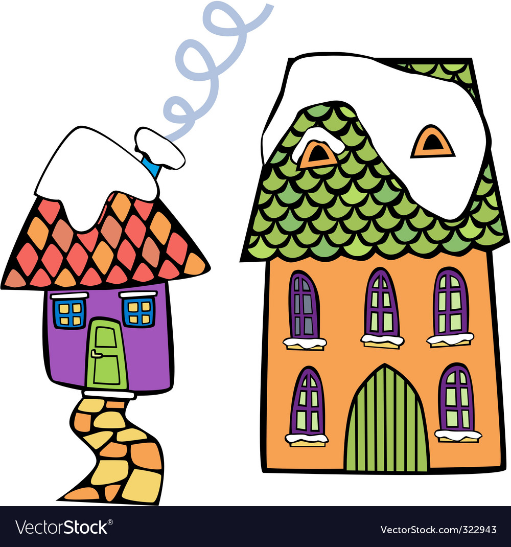 Coloured houses vector | Price: 1 Credit (USD $1)