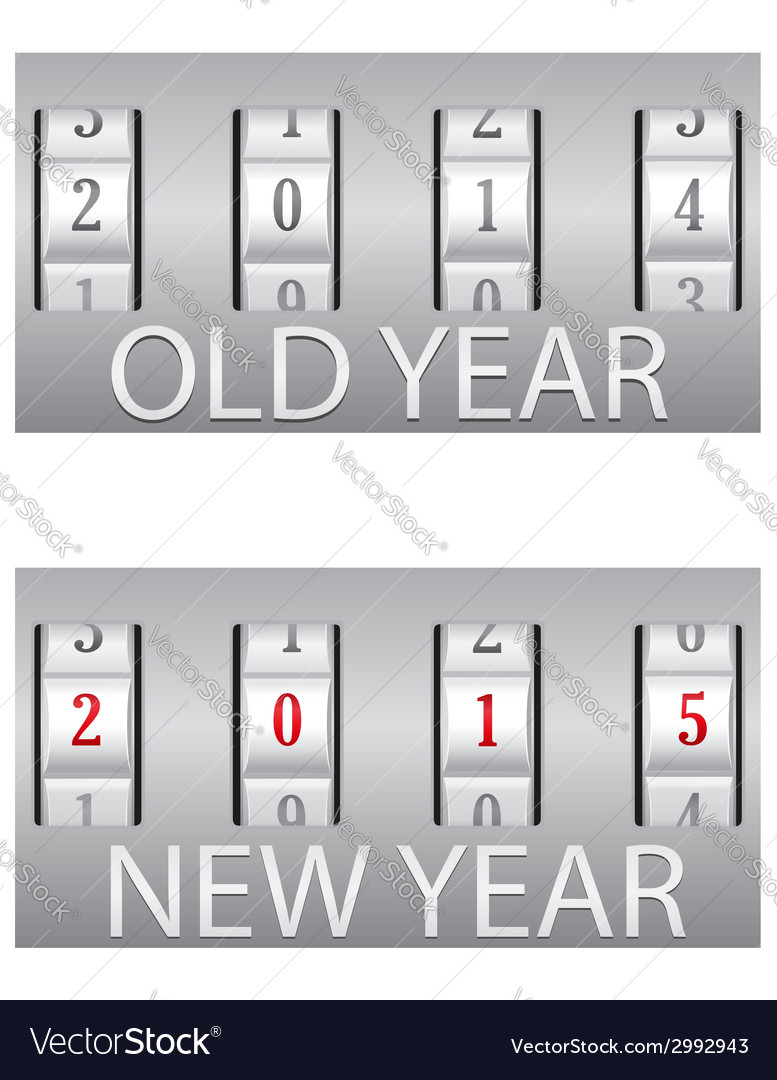 Combination lock old and the new year vector | Price: 1 Credit (USD $1)