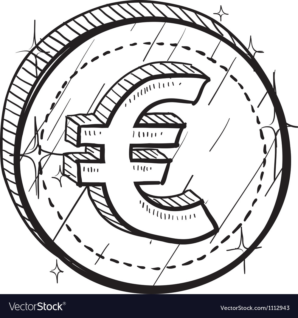 Doodle currency coin euro vector | Price: 1 Credit (USD $1)