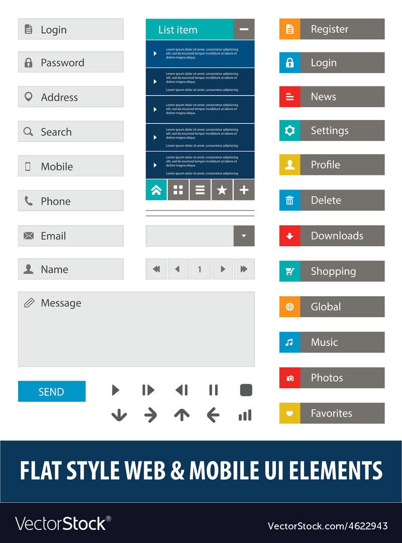 Flat style web mobile ui elements vector | Price: 1 Credit (USD $1)