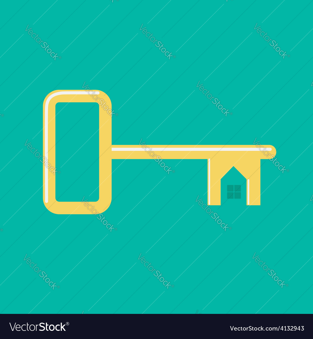 Golden key from the house with window and roof vector | Price: 1 Credit (USD $1)