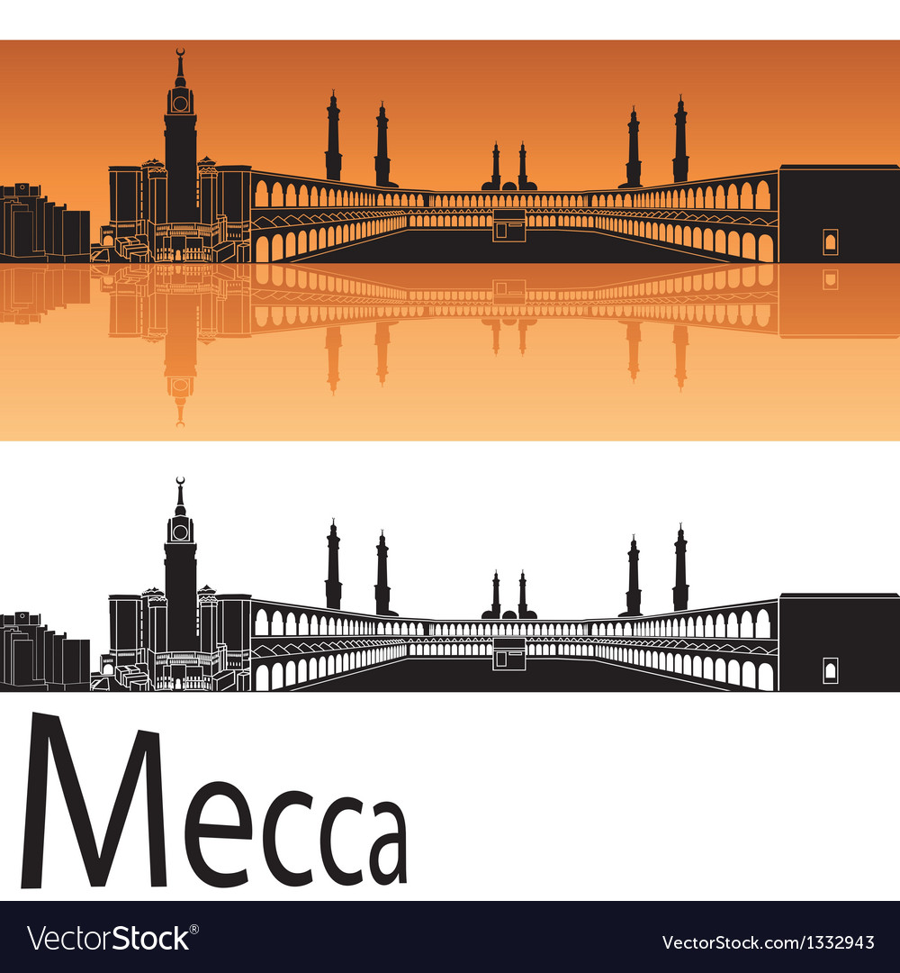 Mecca skyline in orange background vector | Price: 1 Credit (USD $1)