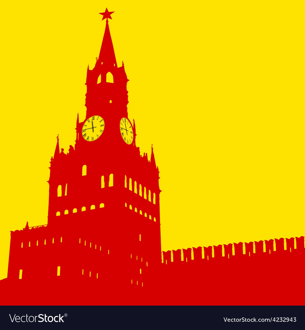 Moscow russia kremlin spasskaya tower with clock vector | Price: 1 Credit (USD $1)