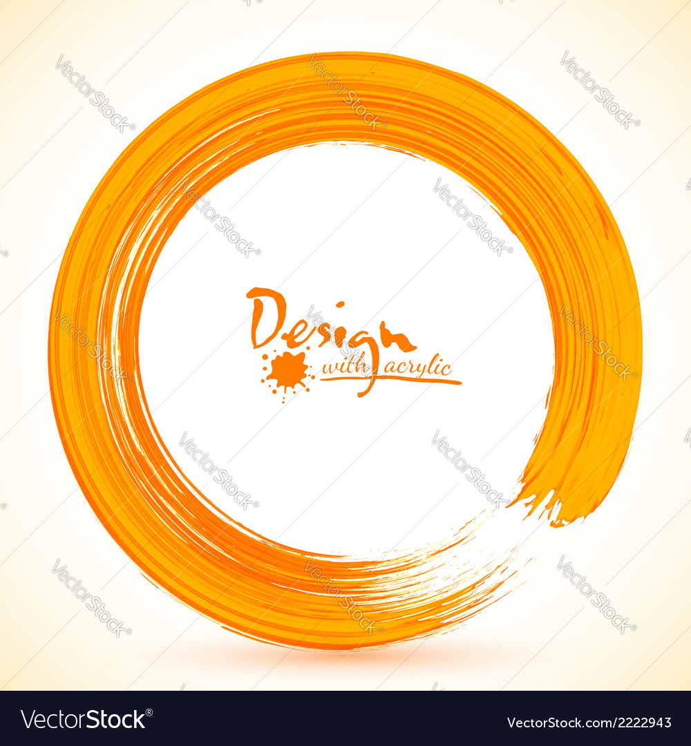 Orange paintbrush circle frame vector | Price: 1 Credit (USD $1)