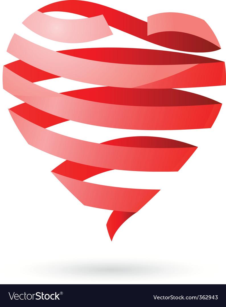 Ribbon heart vector | Price: 1 Credit (USD $1)