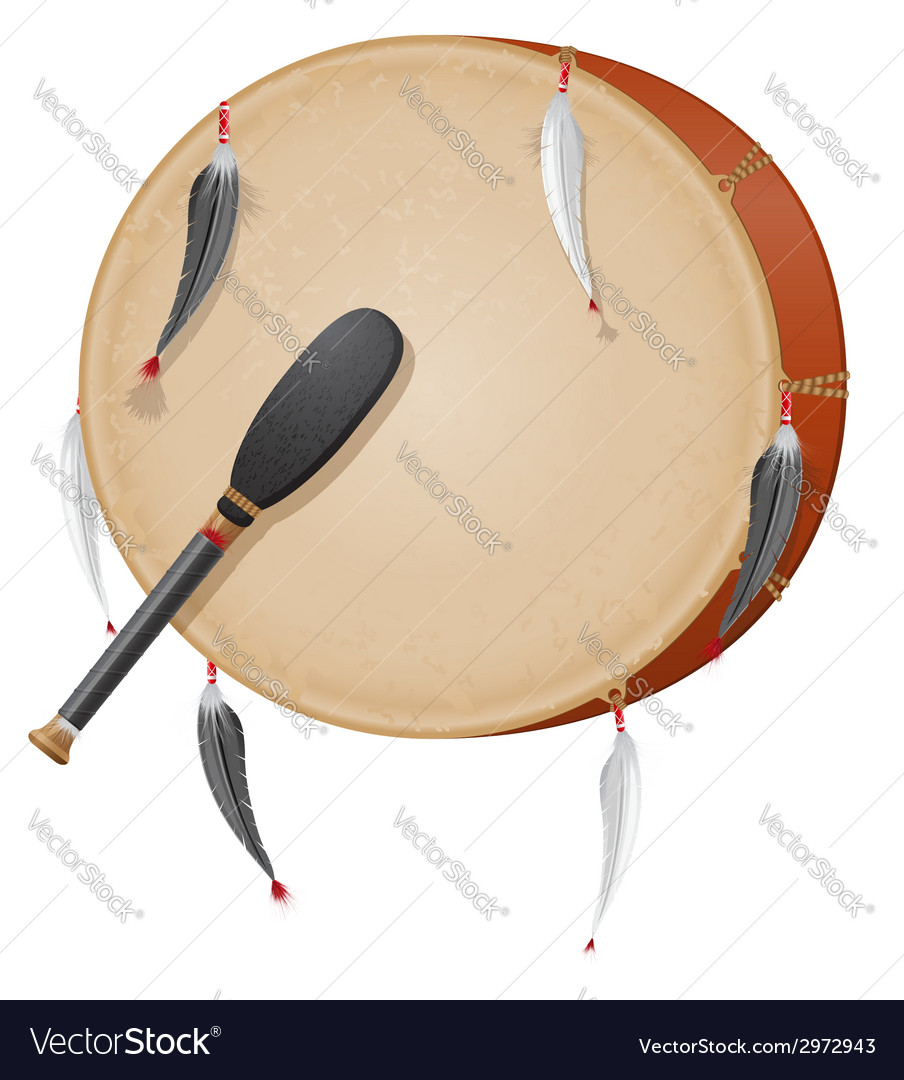 Tambourine american indians vector | Price: 1 Credit (USD $1)